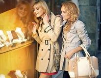 2 белокурых женщины смотря украшения Стоковое Изображение RF