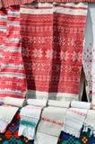 Белорусские полотенца с традиционным орнаментом Стоковое Изображение RF