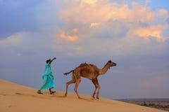 Бедуин водя его верблюда в пустыне Thar около Jaisalmer, Индии Стоковая Фотография