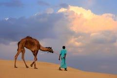 Бедуин водя его верблюда в пустыне Thar около Jaisalmer, Индии Стоковые Фото