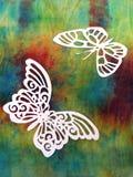 Белые бабочки. Бумажное вырезывание. Стоковое фото RF
