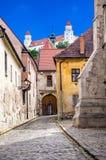 Белые башни замка Братиславы Стоковое Изображение RF