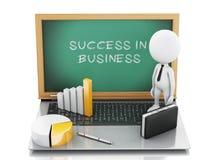 белые бизнесмены 3d с диаграммой и компьтер-книжкой статистики Стоковое Фото