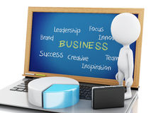 белые бизнесмены 3d с диаграммой и компьтер-книжкой статистики Стоковая Фотография RF