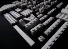 Белые блоки изолированной студии крупного плана набора конструкции игрушки Стоковые Фото