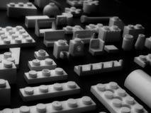 Белые блоки изолированной студии крупного плана набора конструкции игрушки Стоковые Фотографии RF
