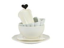 Белые блюда фарфора на белизне Стоковые Фото