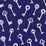Белые готические ключи на голубой безшовной картине вектора Стоковые Фотографии RF