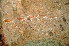 Белые гравировки утеса дамы на Brandberg Стоковая Фотография RF