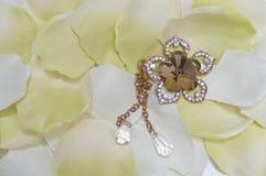 Белые лепестки и ожерелье Стоковая Фотография