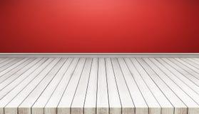 Белые деревянные панели пола с красной стеной стена текстуры кирпича предпосылки старая также использованный для дисплея или монт иллюстрация вектора