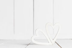 Белые деревянные сердца Стоковая Фотография RF