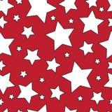 Белые звезды на красной предпосылке безшовно вектор иллюстрация штока