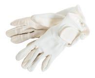Белые изолированные перчатки конкуренции для конноспортивных спорт Стоковые Изображения