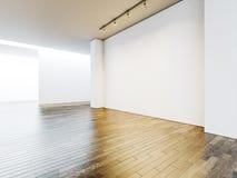 Белые интерьер галереи с пустыми стенами и деревянный Стоковые Фото
