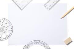 Белые лист и школьные принадлежности Стоковое Изображение RF