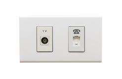 Белые кабельное соединение ТВ и пролом в стене телефона Стоковое Изображение