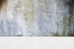 Белые керамические пол мозаики и бетонная стена мха Стоковые Фото