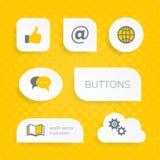 Белые кнопки сети с значками мультимедиа Стоковые Фотографии RF