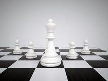 Белые король и пешки шахмат Стоковое Изображение RF