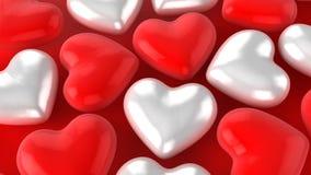 Белые красные сердца стоковая фотография rf