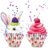 Белые кролик и десерт с взбитой cream иллюстрацией графиков, кролика и десерта футболки при акварель выплеска текстурированная на бесплатная иллюстрация