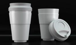 Белые модель-макеты кофейной чашки на темной предпосылке Стоковые Изображения RF