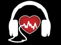 Наушники биения сердца Стоковые Фотографии RF