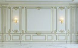 Белые панели стены в классическом стиле с золочением перевод 3d Стоковые Изображения RF