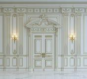 Белые панели стены в классическом стиле с золочением перевод 3d Стоковые Фото