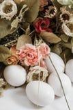Белые пасхальные яйца Ornement Стоковая Фотография RF