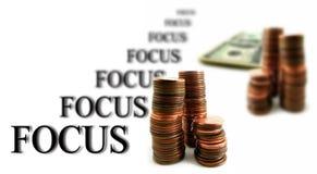 Белые предпосылка и фокус дела денег Стоковые Фотографии RF