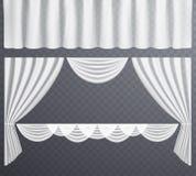 Белые прозрачные занавесы раскрывают и закрытые, повешенные занавесы иллюстрация вектора