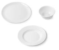 Белые плиты и шар Стоковые Изображения RF