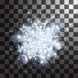 Белые серебряные световые лучи или яркая звезда Прозрачное влияние зарева Стоковое Изображение RF