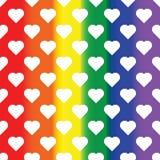 Белые сердца на предпосылке радуги Предпосылка LGBT Конструируйте элемент для плаката, знамени, рогульки, поздравительной открытк иллюстрация вектора