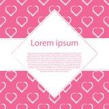 Белые сердца притяжки руки на розовой рамке предпосылки и косоугольника для текста Стоковое Фото