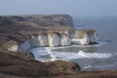 Белые скалы на голове Flamborough, Северном море Стоковое фото RF