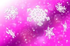 Белые снежинки на запачканной розовой предпосылке Стоковое Изображение