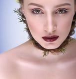 Белые стрелки в составе/волосах с ветвями/оплеткой вокруг шеи Стоковое Изображение