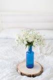 Белые цветки в цветочном горшке бутылки синего стекла на кровати Стоковые Фото