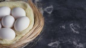Белые цветки с цыпленком eggs в гнезде на серой каменной предпосылке Концепция праздника весны и пасхи с космосом экземпляра Стоковое Фото