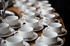 Белые чашки кофе Стоковая Фотография