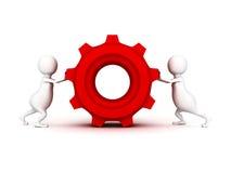 Белые человеки нажимают красную шестерню cogwheel Стоковое Изображение RF