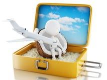 белые человеки 3d в чемодане перемещения Пристаньте каникулу к берегу Стоковые Изображения