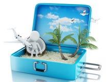 белые человеки 3d в чемодане перемещения Пристаньте каникулу к берегу Стоковые Фотографии RF