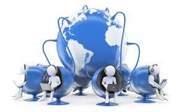 белые человеки 3D. Глобальный центр телефонного обслуживания Стоковые Фотографии RF