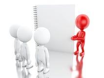 белые человеки 3D и красное руководство с блокнотом бесплатная иллюстрация