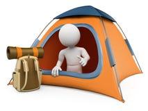 белые человеки 3D. Располагаясь лагерем шатер бесплатная иллюстрация