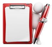 белые человеки 3D. Ручка и доска сзажимом для бумаги Стоковое Изображение RF